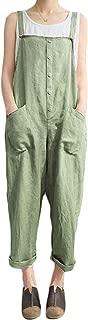 Women's Baggy Wide Leg Overalls Cotton Linen Jumpsuit Harem Pants Casual Rompers