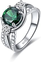 Zetaur 925 Sterling Silver Created Emerald Quartz 3 Stone Round Brilliant Cut CZ Triple Row Band Ring Wedding Engagement Anniversary Statement Eternity Women's Ring