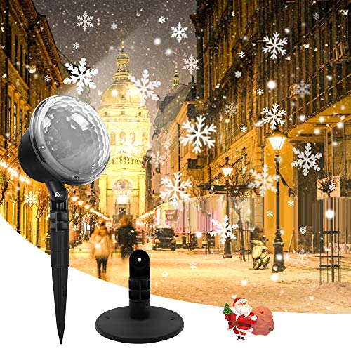 Christmas Projector Lights Outdoor LED Snowflake Projector Lights with Remote Control Waterproof Rotating for Halloween Birthday Holiday Garden Indoor Home Party Decor(White)