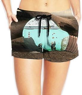 【ErmiCo】レディース 女性 サーフパンツ 水着 ボードショーツ ショートパンツ パンダの世界 海パン 短パン ファッション ショーツ ハーフパンツ 速乾 抗菌 5サイズ S-2XL