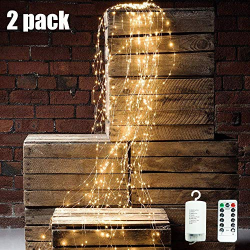 Starry String Lights, 2Pcs Waterproof Decorative Twinkle Fairy Lights, 8 Modes with 10 Strands 250 LEDs Battery Operated Branch Waterfall Lights with Remote Timer for Garden Outdoor Christmas Tree (2)
