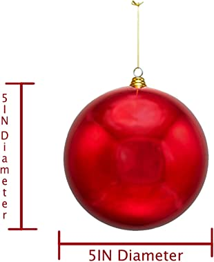 5IN Shiny Red Ball Ornament, Plastic Gold Cap Hanging String Indoor Outdoor Christmas Tree Decorations 2 Balls per Box