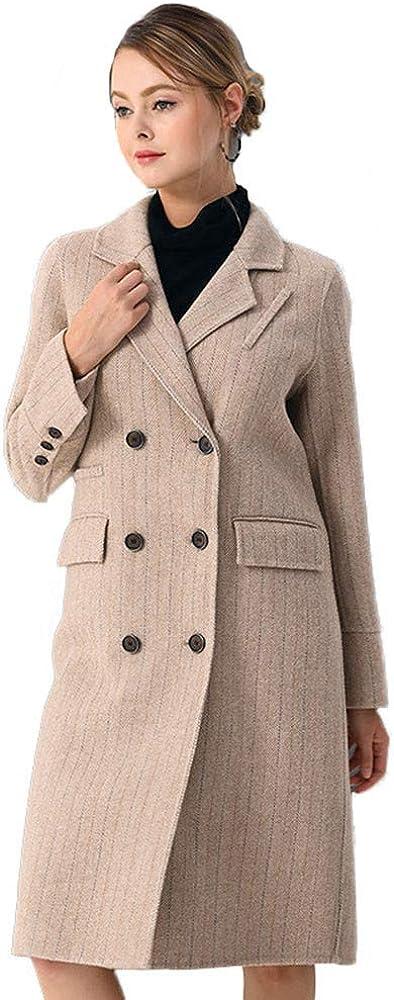 Newdeve Women's Wool Blends Double Ranking TOP12 Luxury Winter Park Breasted Pea Coat