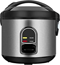 Rice Cooker, One-Touch Control,Small 5-cup Uncooked Rice Cooker Food Steamer with Removable Nonstick Pot, Steamer Basket and Keep Warm Function,1.0 Liter