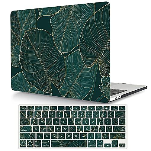 AJYX MacBook Air 13-Zoll Hülle 2020/2019/2018 (Model A2179/A1932), Plastik Hartschale Schutzhülle Snap Case + EU Tastaturschutz für MacBook Air 13 Retina mit Touch ID - Grünes Blatt