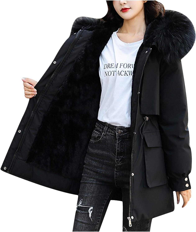 ZYAPCNGN Womens Winter Jacket with Faux Fur-Collar,Warm Overcoat Slim Zipper Thicker Coat Outwear
