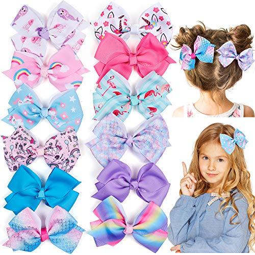 Tacobear 12Stk Haarspangen Mädchen Baby Schleifen Einhorn Regenbogen Haarspangen 5 Zoll Ripsband Große Haarschleifen Clips Haarschmuck für Mädchen Kinder