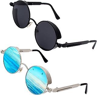 GQUEEN - Steampunk redonda Retro Metálico gafas de sol polarizadas para hombres y mujeres con protección UV400 MTS2