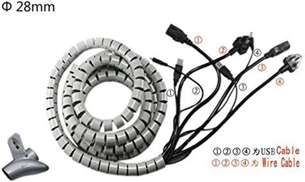 sourcing map Sourcingmap/® 20mm Flexible Espiral Tubo Cable Cable Envolver Manejo de la computadora Blanco 5ft w Clip