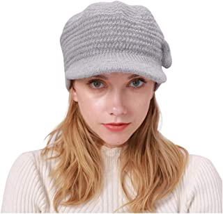 SEXYTOP Women Winter Beanie Hat with Visor Warm Knitted Slouchy Wool Hats Cap Retro Solid Hat Crochet Wrap Caps