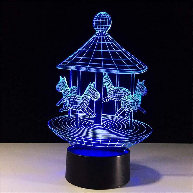 Led Licht Edison Lampe Retro Chandelier3D Merry-Go-Round Led Nachtlicht Bunte Atmosphre Tischlampe