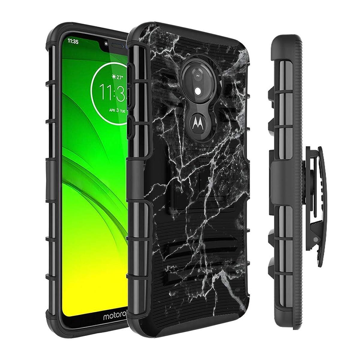 Moriko Case Compatible with Moto G7 Power, Moto G7 Supra [Kickstand Holster Combo Heavy Duty Protection Case Black] for Motorola Moto G7 Power - (Black Marble Print)