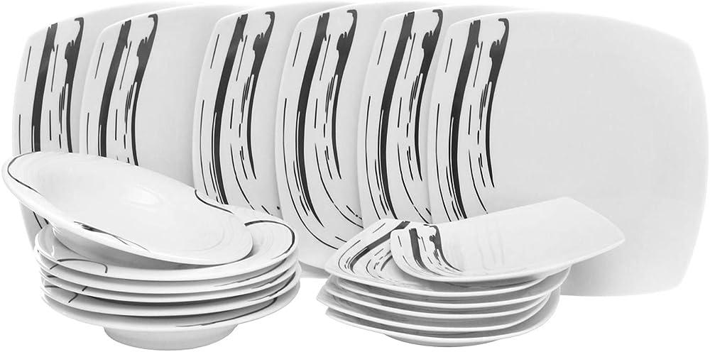 Kasanova, servizio di piatti da 18 pezzi , in porcellana KRO010039NOCA