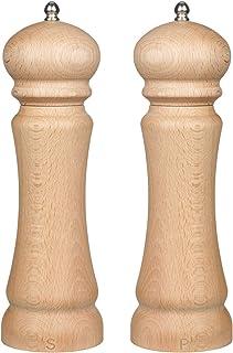Salt and Pepper Grinder Set-Beech wood Salt and Pepper Mills Shakers Adjustable Coarseness Ceramic Rotor Wooden Pepper Mill & Salt Grinder Spice Mill Grinder (9.3 Inch) Father's Day Gift