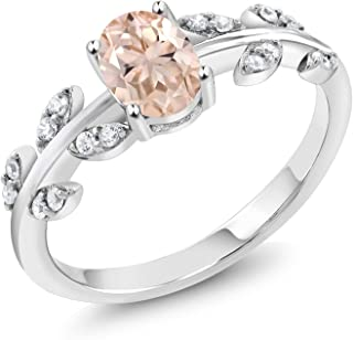 Gem Stone King 925 Sterling Silver Peach Morganite Olive Vine Women's Engagement Ring 0.86 Ctw Oval (Available 5,6,7,8,9)