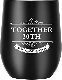 30th Anniversary Gifts for Men Women Wife Husband Couple, Together Always and Forever, Personalized Wine Tumbler with Lid for Christmas Valentines Day (30thTumbler)