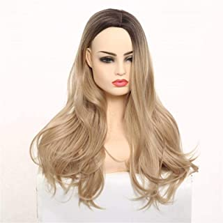 YYCHER Ms. Long Curly Hair Wig New European and Fashion High-Temperature Chemical Fiber Yarn Dyeing Gradient Carve Caps fo...