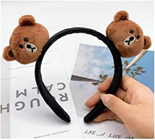 XLEIYI Christmas hair hoop, Korean rabbit ear net red with hair band, female face wash hair band with brown bear cartoon bear, hair clip hair hoop headdress hair accessory, children's cute hair access