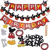 WENTS Geburtstag Dekoration Party Supplies 9Stück Mickey Mouse Party Dekoration Kit Mickey Birthday Party Banner with Cake Topper für Happy Birthday Party Dekorationen Supplies