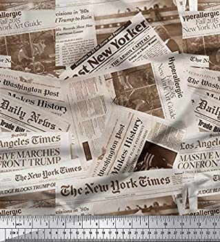 Soimoi 58 Inches Wide Newspaper Print Cotton Poplin Fabric Sewing Material by The Yard-Gray