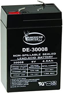 AMERICAN HUNTER Rechargeable Battery 30008 6 Volt Lead Acid 4.5 mAh