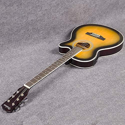 HUANH guitarra acústica popular de la guitarra de 40 pulgadas ultra-delgado cuerpo del barril caja de la guitarra eléctrica puesta de sol EQ de color jita HUANH (Color : Sunset color)