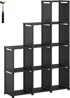 SONGMICS 9-Cube DIY Storage Shelves, Open Bookshelf, Closet Organizer, for Family Study, Living Room, Bedroom, Kid's Room, Black ULSN33BK