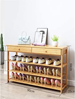 ZXJshyp 3-6 Tier Natural Bamboo Shoe Rack, Shoe Shelf, Storage with Two Drawers for Home Entryway Shoe Storage Cabinet Boo...