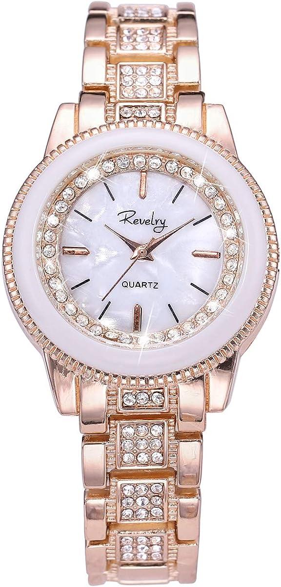 Lady Women Wrist Watch Gold Steel Stainless Arlington Mall Dress 5 ☆ very popular Crystal Quartz
