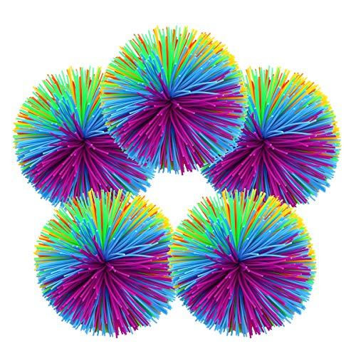 Surenhap Wuschelball, 5pcs Sports Funball Mehrfarbig Spielball für Reizbarkeit entfernen/Dekompression/Therapie/Sinnesspielzeug, 7cm