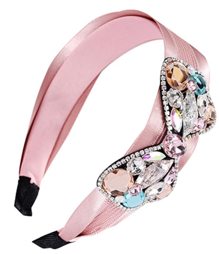 期待して視力マダムヘッドバンドエレガントなクリスタルレースの髪の装飾アンチスキッド圧力ワイドヘアフープ