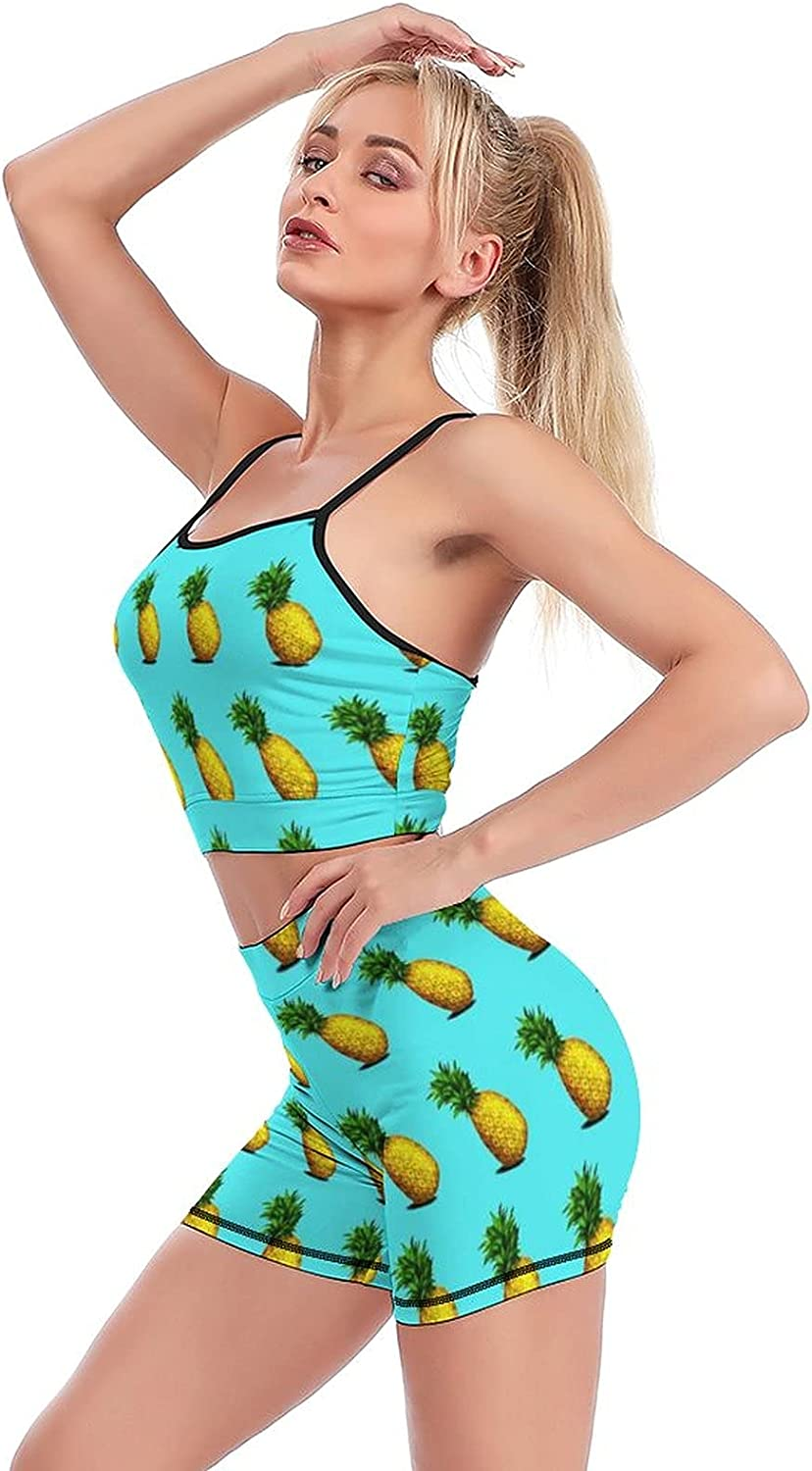 Yoga Workout Max 84% OFF Sets for Pineapples-Blue Max 77% OFF Women Shorts SportÂÂ