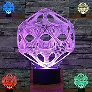 SUPERNIUDB 3D Abstract Ball Night Light 7 Color Change LED Table Lamp Xmas Toy Gift