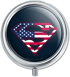 Superman USA American Flag Shield Logo Pill Case Trinket Gift Box