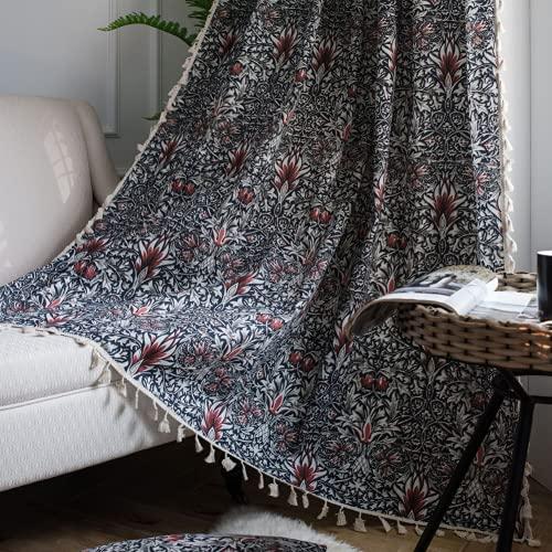 1 pezzo di tende da finestra semi-oscurante rosso erba provenzale per soggiorno camera da letto, stile Punch 59 'W x 63' L (150x160 cm)