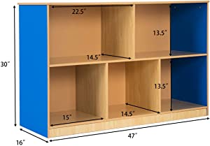Tangkula 2-Tier Wood Storage Cabinet, Kids Toy Storage Organizer, with 5 Storage Bins, Toy Cabinet Storage Containers for Bedroom, Playroom, School, Children Collection Shelf, Multi-Bin Storage Cubby