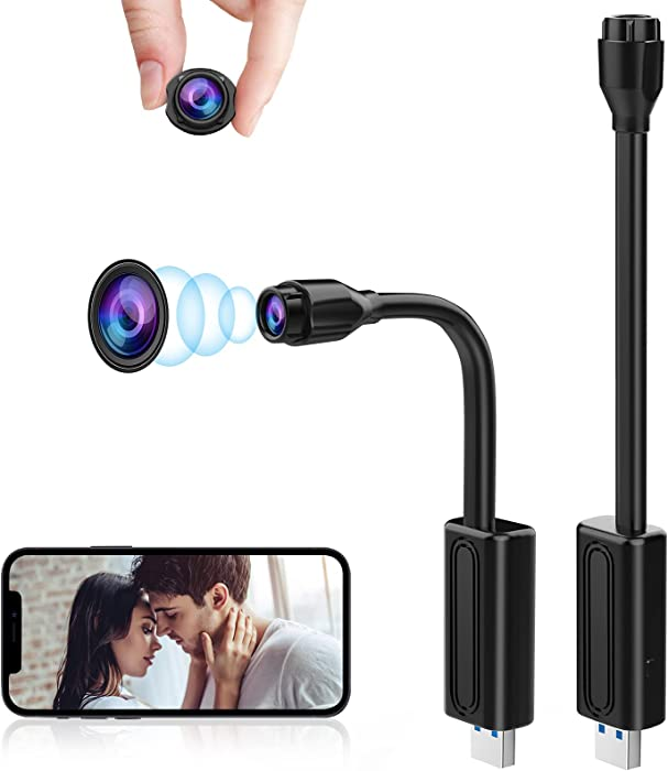 Mini Spy Camera WiFi Hidden Cameras Wireless Small Nanny Cam, USB Plug Hidden Spy Camera 1080P HD Security Camera with App Live Streaming, Motion/Sound Detection for Home/Office/Indoor