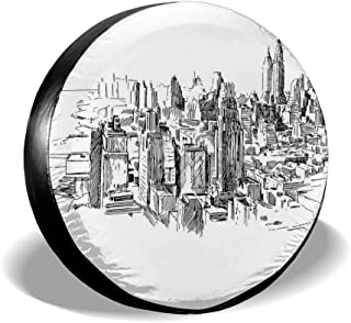 YuYfashions Cubierta del neumático Tire Cover Wheel Covers Sketchy New York Historical Western Center Downtown Modern USA ...