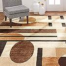 "Home Dynamix Tribeca Jasmine Modern Area Rug, Abstract Brown/Beige 7'10""x10'6"""
