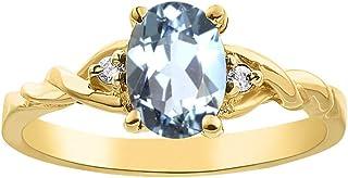 Juego de anillos de diamantes y aguamarina en plata chapada en oro amarillo