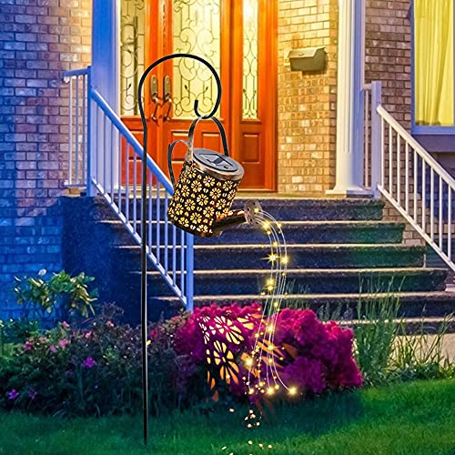Star Shower Garden Art LED Lights Cadena de luces solares para cocina hueca ducha brillante solar Star Shower Watering Can Fairy Lights Luz solar lámpara de césped, lámpara de jardín decorativa
