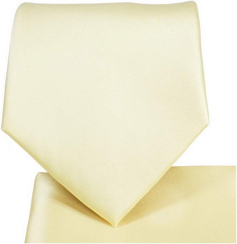 Oliver George Men's Solid NeckTie & Matching Pocket Square Handkerchief Set