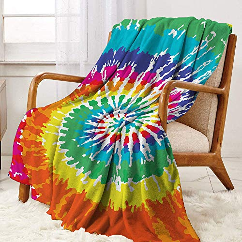 Rainbow Comfortable Home Series Blankets Digital-Spiral-Vortex-Vibrant-Rainbow-Colored-Sixties-Ikat-Psychedelic-Pattern-Print Lightweight for living room W70 x L90 Inch Multi