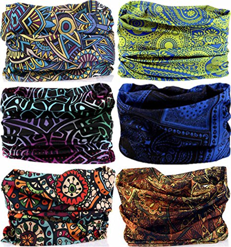 VANCROWN Headwear Wide Headbands Scarf Head Wrap Mask Neck Warmer (6PC.Bohemia Series)