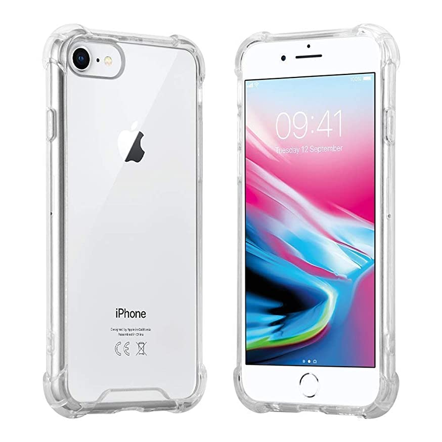 Phone Case for iPhone 8 , iPhone 7 with Tempered Glass Screen Protector-Crystal Clear