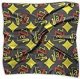 iuitt7rtree Mujer Lady Jazz Concept Disco de vinilo Amarillo Rojo Estampado Cuadrado Pañuelo Bufanda Cabeza Abrigo Cuello Satén Chal