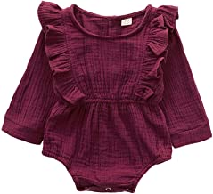 Newborn Baby Girl Romper Ruffle Long Sleeve Bodysuit Cotton Linen One Piece Jumpsuit Infant Fall Outfits Clothes