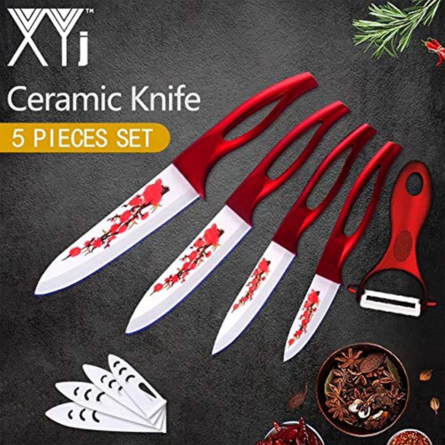 XYj 5 Piece Ceramic Knives Flower Pattern Blade 3 4 5 6 inch ABS+TPR Handle Kitchen Knives Cooking Tool Free Cover and Pleeler   Cherry Blade