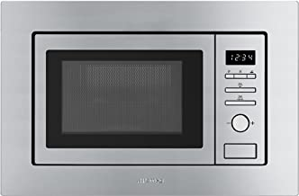 Smeg FMI017X Integrado - Microondas (Integrado, Microondas con grill, 20 L, 800 W, Botones, Giratorio, Acero inoxidable)