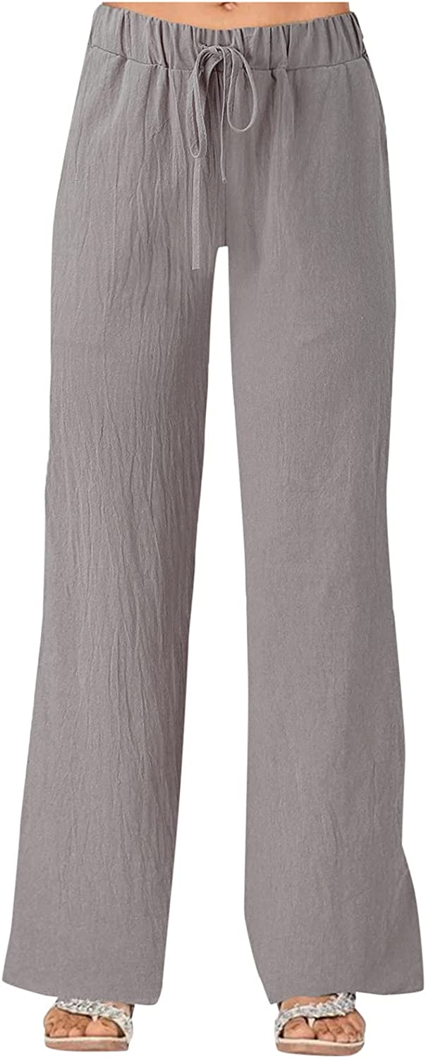 SPRAOI Cropped Pants Drawstring Cotton Linen Crop Pant Elastic Waist Pants with Pockets Wide Leg Casual Loose Lounge Trousers